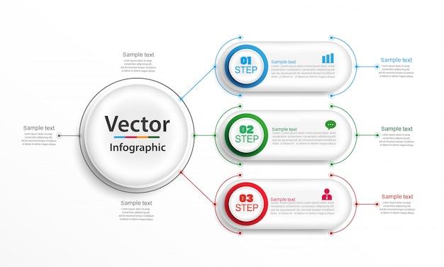 Modelo de design de vetor de infografia com 3 etapas