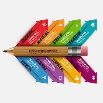 Modelo de design de vetor de lápis de educação de negócios infográficos.