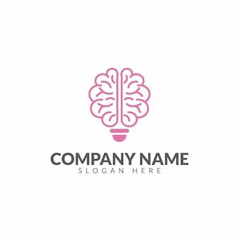 Modelo de design de vetor de logotipo de cérebro e lâmpada