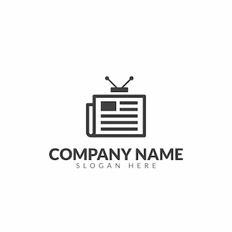 Modelo de design de vetor de logotipo de jornal tv