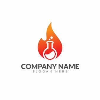 Modelo de design de vetor de logotipo de laboratório de fogo