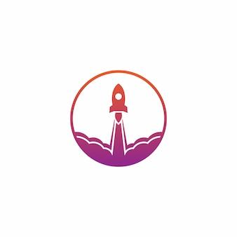 Modelo de design de vetor de logotipo de lançamento de foguete