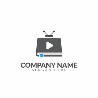 Modelo de design de vetor de logotipo de livro de tv