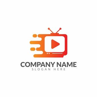 Modelo de design de vetor de logotipo rápido de tv
