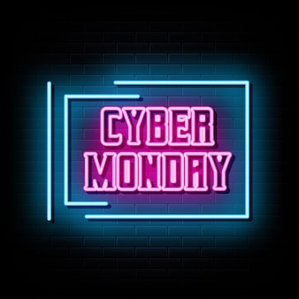 Modelo de design de vetor de sinais de néon cyber monday estilo néon