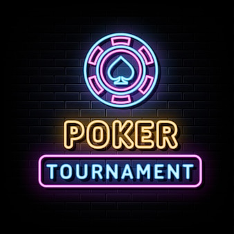 Modelo de design de vetor de sinais de néon de torneio de pôquer estilo néon
