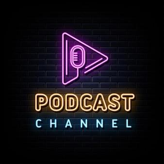 Modelo de design de vetor de sinais de néon do canal de podcast estilo néon