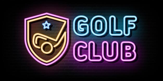 Modelo de design de vetor de sinais de néon do clube de golfe estilo néon