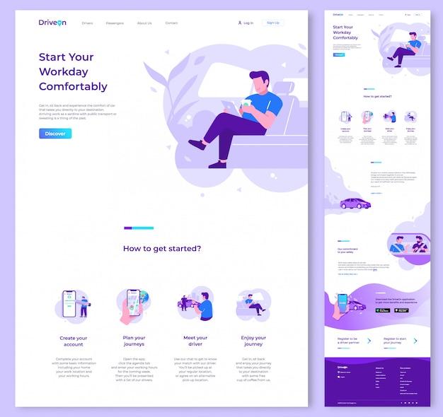 Modelo de design de vetor de site de uma página