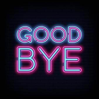 Modelo de design de vetor de texto de adeus néon
