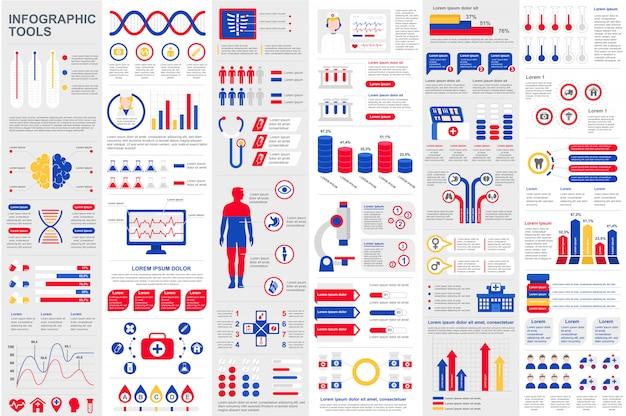 Modelo de design de vetor de visualização de dados de elementos infográfico médica