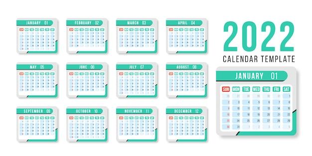 Modelo de design de vetor horizontal calendário ano 2022 design simples e limpo