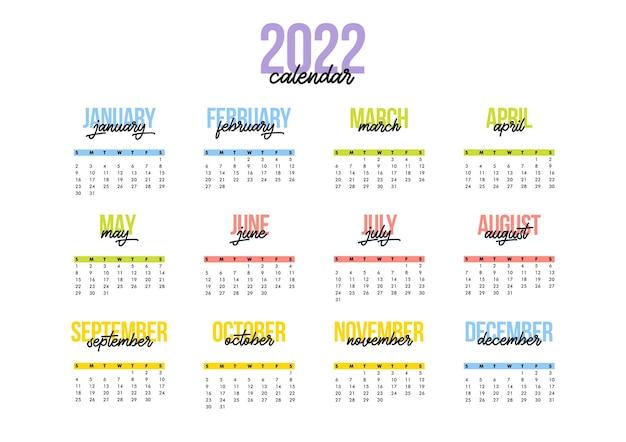 Modelo de design de vetor horizontal de calendário ano 2022, design simples e limpo. calendário para 2022 em fundo branco para organização e negócios. a semana começa no verão