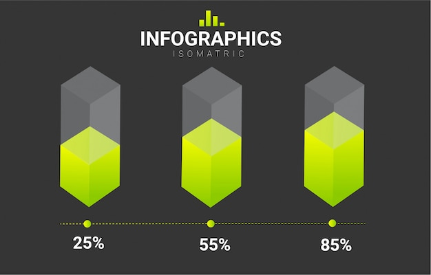 Modelo de design de vetor isométrica de infográficos