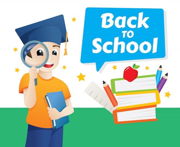 Modelo de design de vetor para voltar para a escola