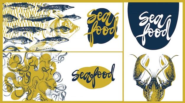 Modelo de design de vetor vintage de frutos do mar, conjunto de bandeiras.
