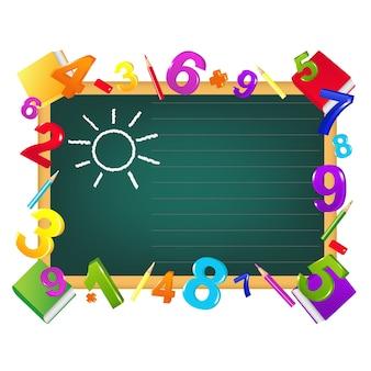 Modelo de design de volta às aulas no quadro-negro, lápis de cor, figuras, livros didáticos, em branco