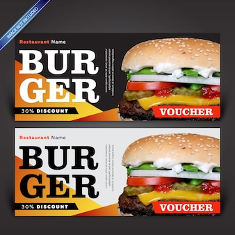 Modelo de design de voucher de hambúrguer