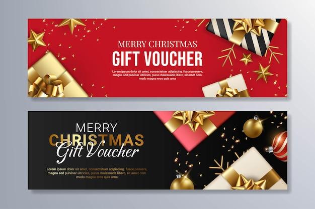 Modelo de design de voucher de presente de feliz natal vermelho e preto