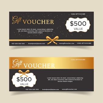 Modelo de design de voucher de presente dourado
