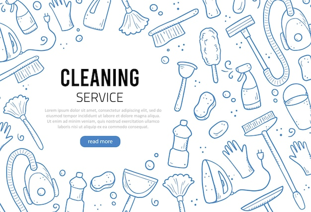 Modelo de design desenhado de mão de equipamentos de limpeza, esponja, aspirador, spray, vassoura, balde. estilo de desenho do doodle.