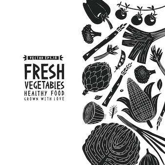 Modelo de design divertido legumes mão desenhada.