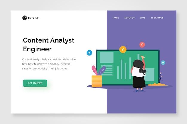Modelo de design do analista de conteúdo da página inicial