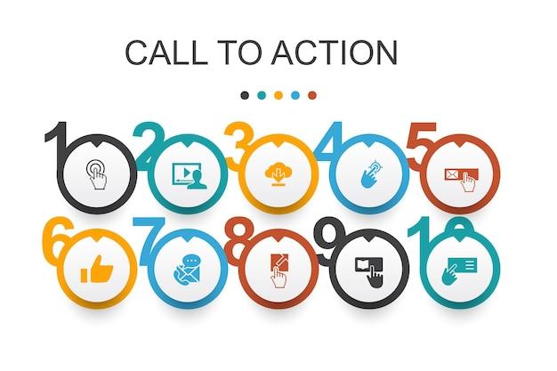 Modelo de design do apelo à ação infográfico. baixe, clique aqui, inscreva-se, entre em contato conosco ícones simples