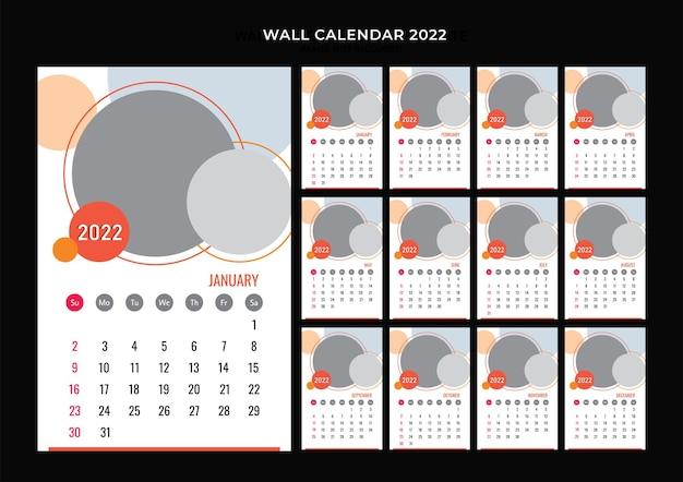 Modelo de design do calendário de parede 2022