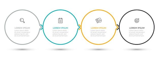 Modelo de design do círculo infográfico com ícones e setas
