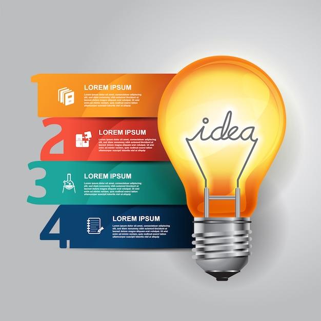 Modelo de design do conceito idéia lâmpada infográficos.