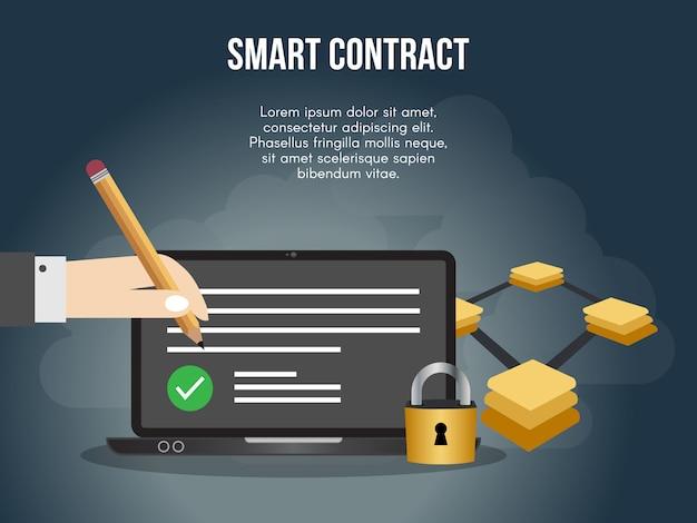 Modelo de design do contrato inteligente conceito ilustração vetorial
