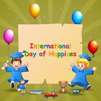 Modelo de design do dia internacional da felicidade com crianças de formatura