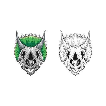 Modelo de design do dino caveira conceito ilustração vetorial