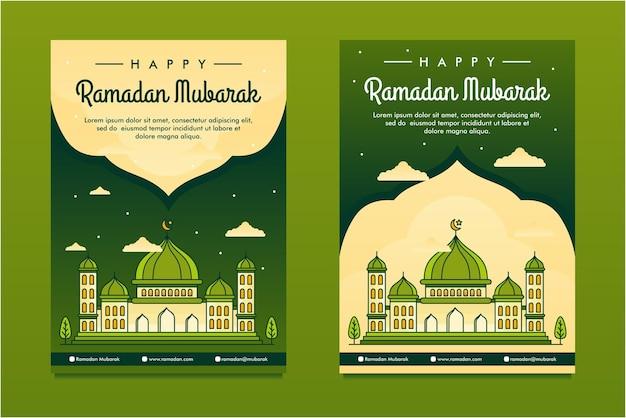 Modelo de design do flayer ramadan mubarak ilustrado de arte linear