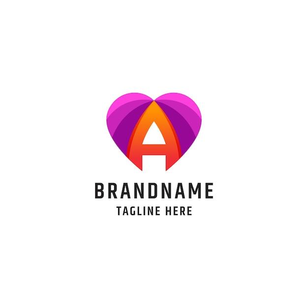 Modelo de design do ícone de logotipo abstrato de amor da letra a