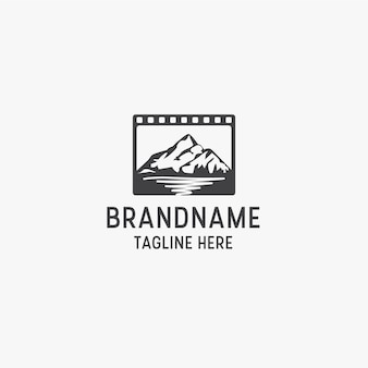 Modelo de design do ícone do logotipo de produção de estúdio de cinema de montanha.
