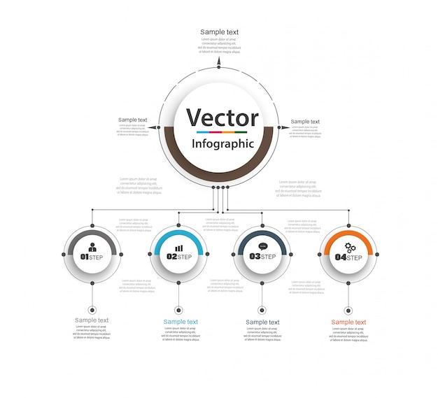 Modelo de design do infográfico. conceito de negócio com opções e 4 passos.