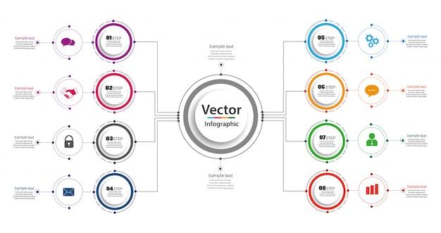 Modelo de design do infográfico. conceito de negócio com opções e 8 passos