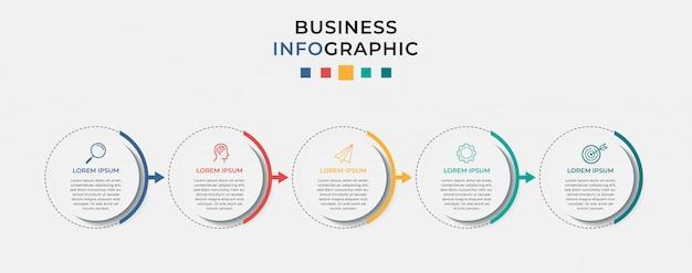 Modelo de design do infográfico de negócios 5 opções ou etapas.