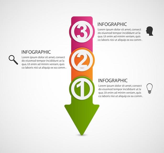 Modelo de design do infográfico em forma de flechas.