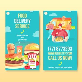 Modelo de design do instagram de entrega com comida e vegetais aquarela ilustração.