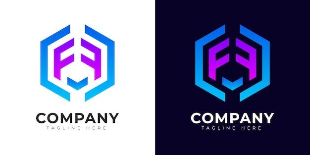 Modelo de design do logotipo da letra f inicial do estilo gradiente moderno