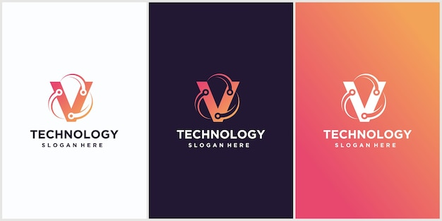 Modelo de design do logotipo da letra v da tecnologia ícone do logotipo da tecnologia
