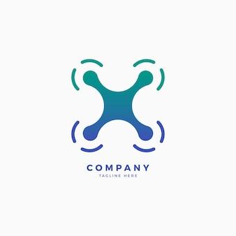 Modelo de design do logotipo da letra x do drone