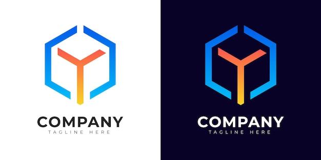 Modelo de design do logotipo da letra y inicial do estilo gradiente moderno