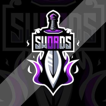 Modelo de design do logotipo do mascote do rei da espada