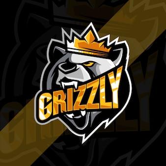 Modelo de design do logotipo do mascote do rei principal grizzly