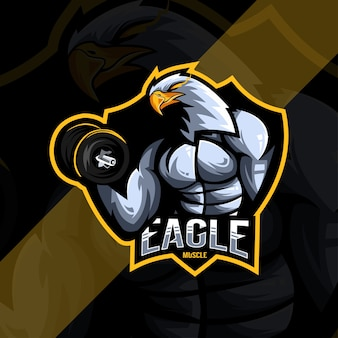 Modelo de design do logotipo do mascote eagle muscle