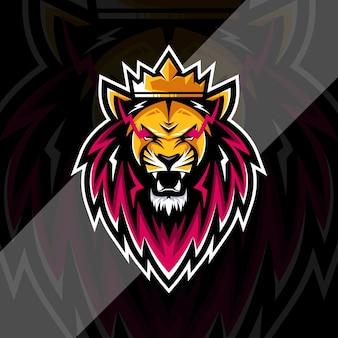 Modelo de design do logotipo do mascote leão-rei